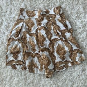 High Waisted Gold Patterned Shorts